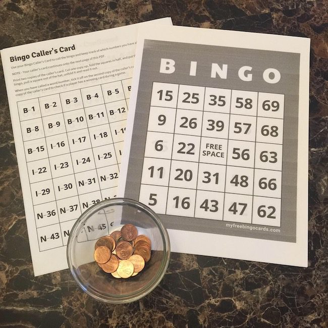 bingo cads and bowl of pennies