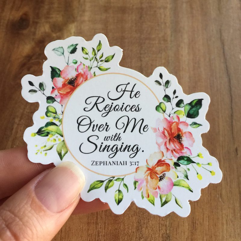 he rejoices over me with singing floral mirror cling