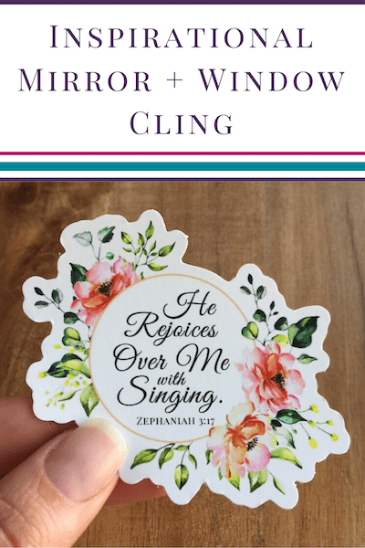 Zephaniah 3_17 floral Mirror Cling